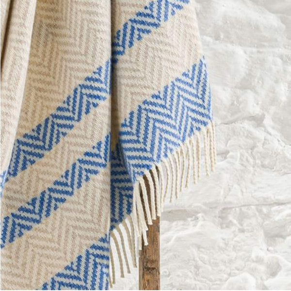 Hayle Recycled Wool Throw In Cobalt Blue And Oatmeal Stripe With Fringes -Homeware- Cream Cornwall