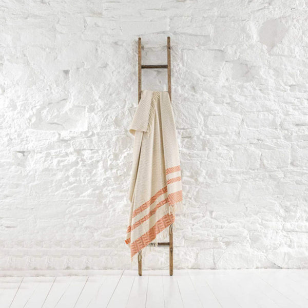 Hayle Recycled Wool Throw In Coral And Oatmeal Stripe With Fringes -Homeware- Cream Cornwall