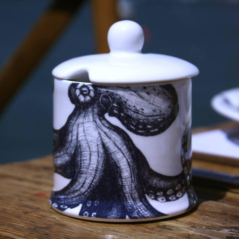 Blue And White Bone China Jam Pot With Octopus Design -Kitchen & Dining- Cream Cornwall