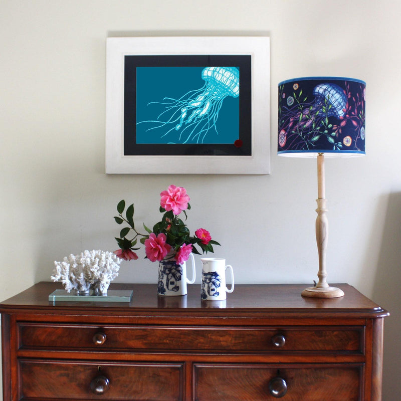 Jellyfish Art Print In Turquoise And Blue In Three Sizes - A2, A3 And A4 -Accessories- Cream Cornwall