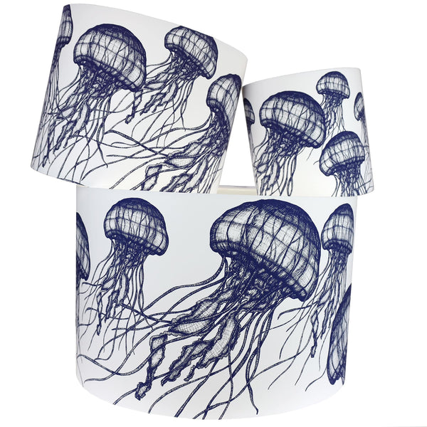 Marine Blue On White Jellyfish Lampshade -Homeware- Cream Cornwall