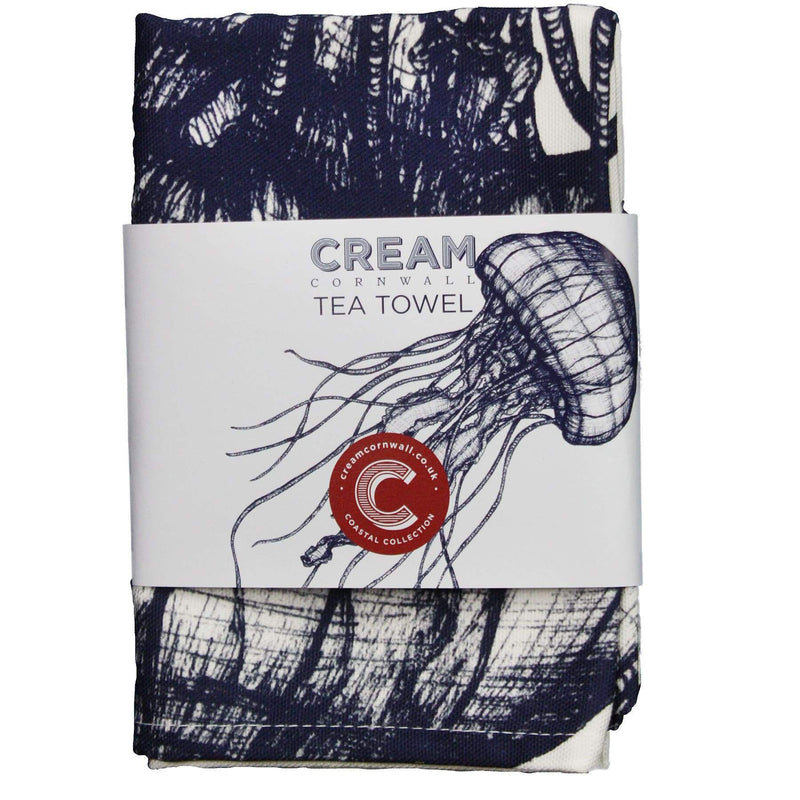 Blue And White Cotton Tea Towel With Jellyfish Design -Kitchen & Dining- Cream Cornwall