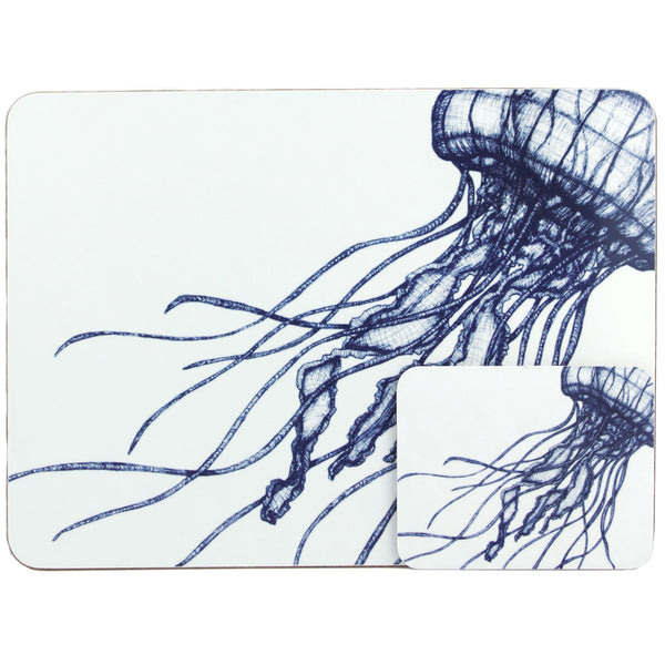 Blue And White Jellyfish Design Placemat/Coaster -Kitchen & Dining- Cream Cornwall