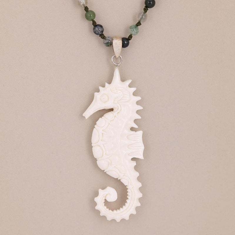 Hand Carved Sea Horse Necklace -Jewellery- Cream Cornwall