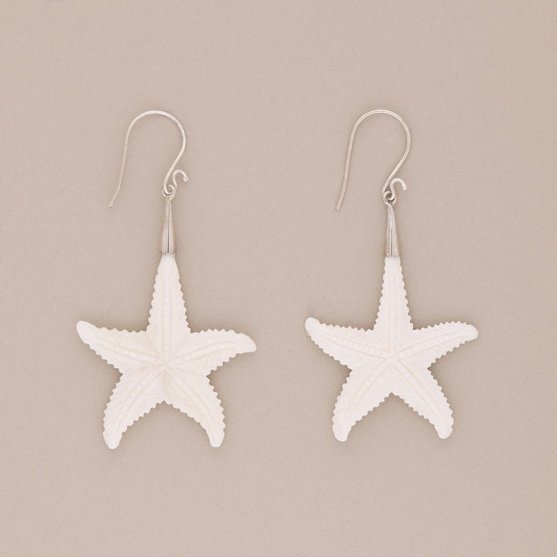 Hand Carved Starfish Earrings -Jewellery- Cream Cornwall