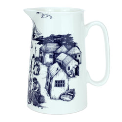 Blue And White Bone China Jugs - Cornish Harbour Scene Design - cream cornwall