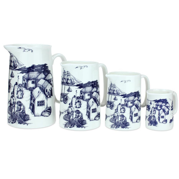 Blue And White Bone China Jugs - Cornish Harbour Scene Design -Kitchen & Dining- Cream Cornwall