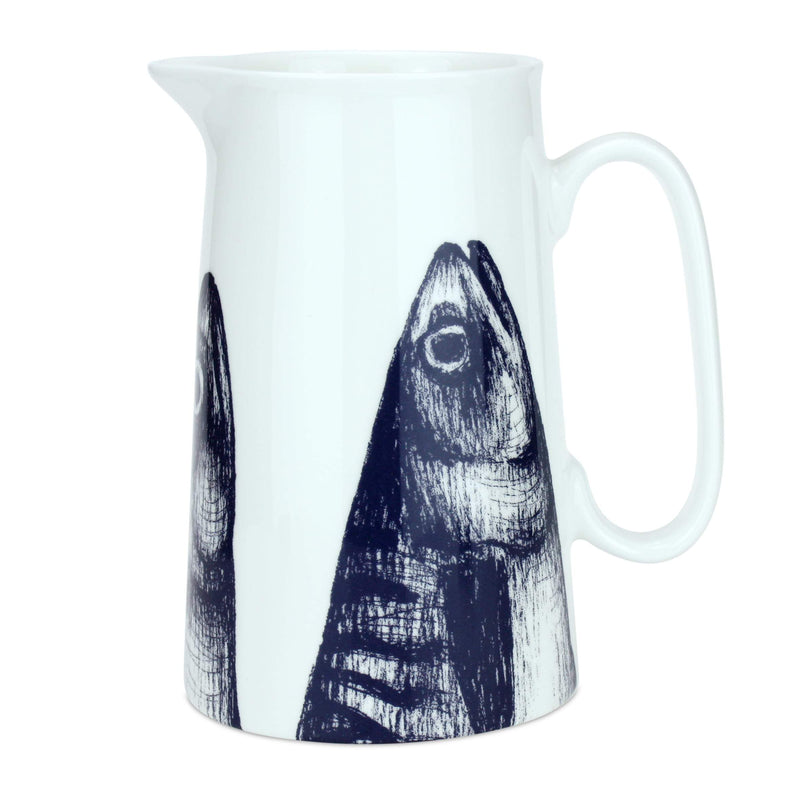 Blue And White Bone China Jugs With Mackerel Design -Kitchen & Dining- Cream Cornwall