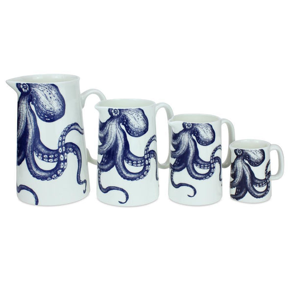 Blue And White Bone China Jugs With Octopus Design -Kitchen & Dining- Cream Cornwall