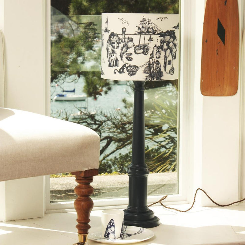 Cornish Toile Lampshade -Homeware- Cream Cornwall