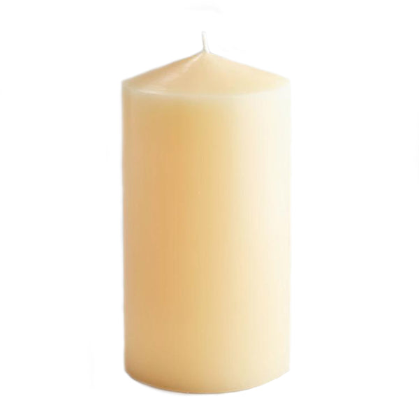 "Hand Drawn Church Pillar Candle - 4"" x 8"" -Accessories- Cream Cornwall"