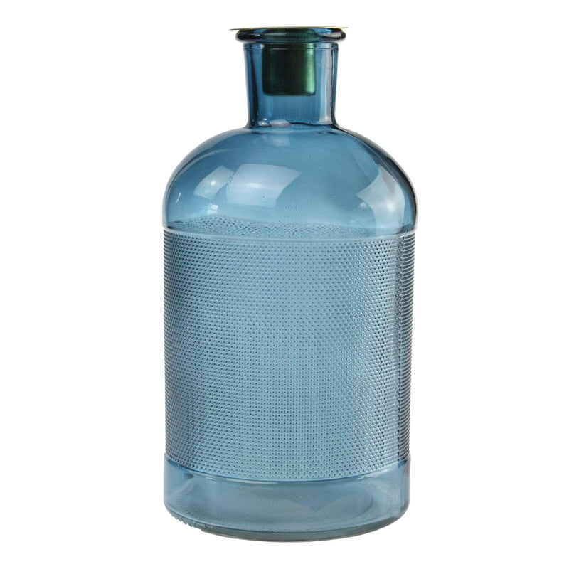 Blue Glass Bottle Candle Holder -Accessories- Cream Cornwall