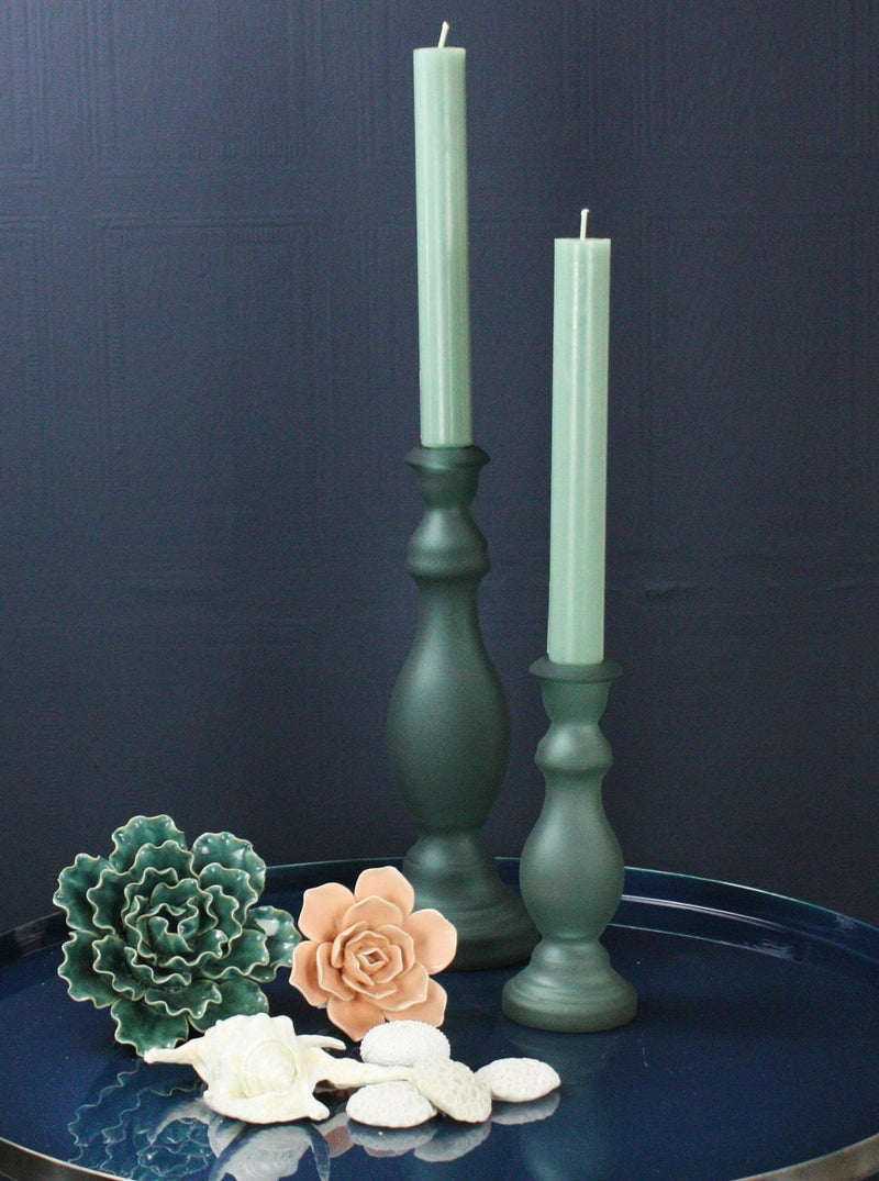 Blue Green Glass Matte Candle Holder -Accessories- Cream Cornwall