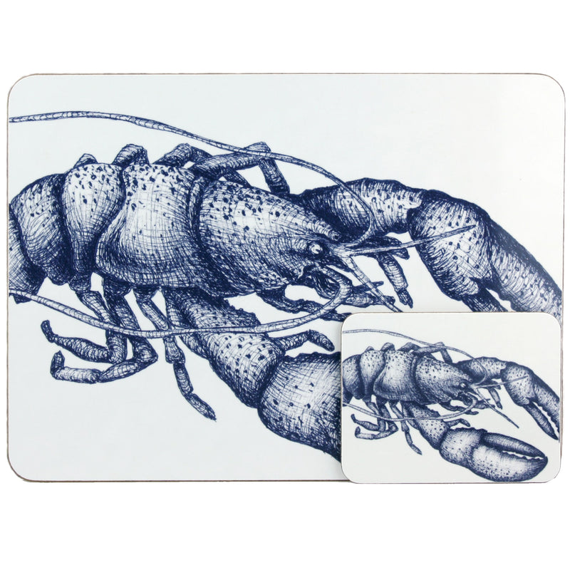 Blue And White Lobster Design Placemat/Coaster -Kitchen & Dining- Cream Cornwall