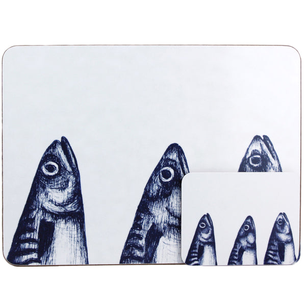 Blue And White Mackerel Heads Design Placemat/Coaster -Kitchen & Dining- Cream Cornwall