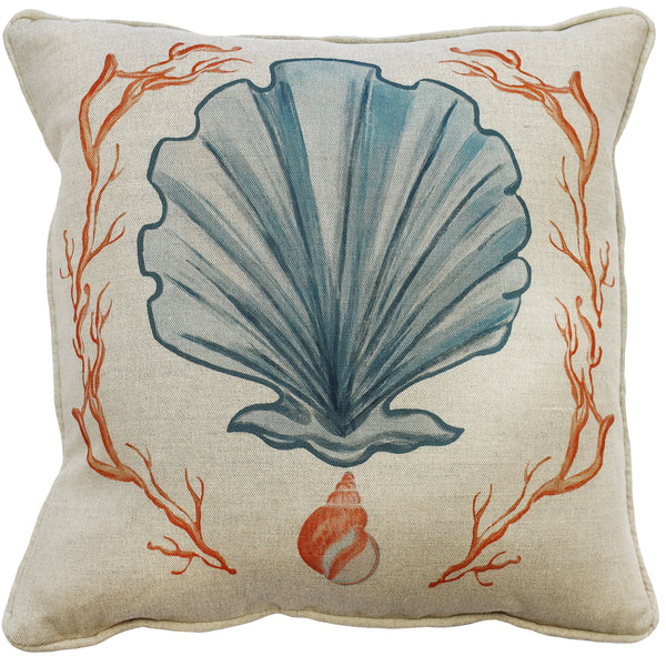 Manderley Blue & Natural Linen Cushion Cover - Cream Cornwall