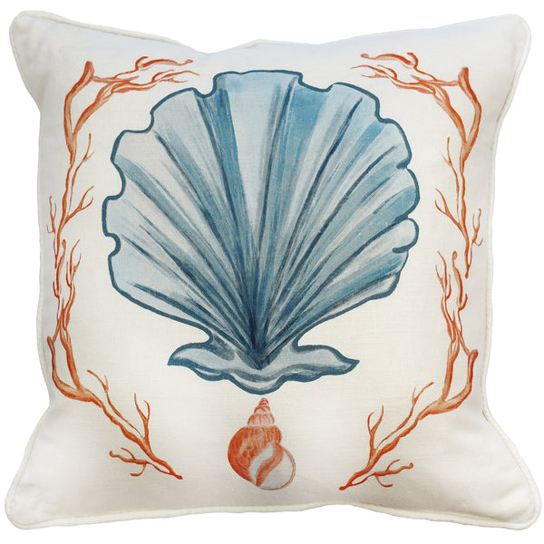 Manderley Blue & Off White Linen Cushion Cover - Cream Cornwall