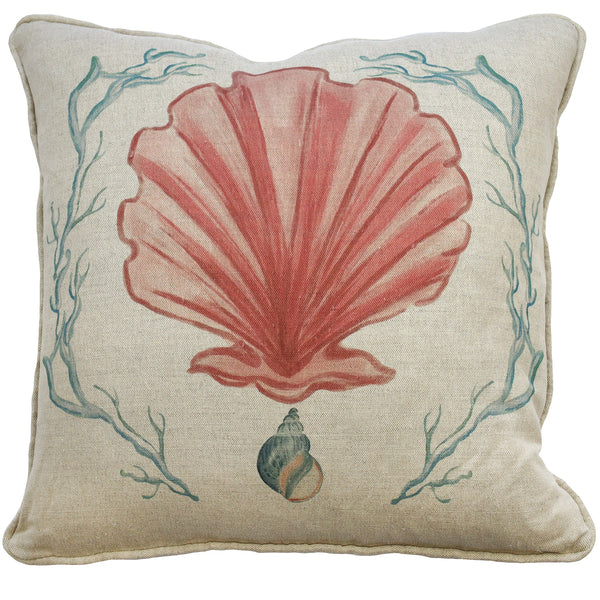Manderley Pink & Natural Linen Cushion Cover - Cream Cornwall