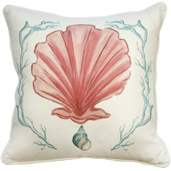 Manderley Pink & Off White Linen Cushion Cover - Cream Cornwall