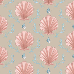 Manderley Pink & Natural Linen Fabric - Cream Cornwall