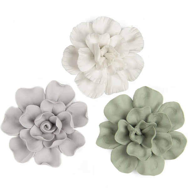 Set of 3 Matt Ceramic Flowers -Accessories- Cream Cornwall