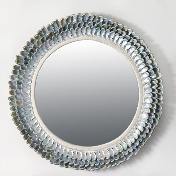 Abalone Shell Circular Mirror -Accessories- Cream Cornwall