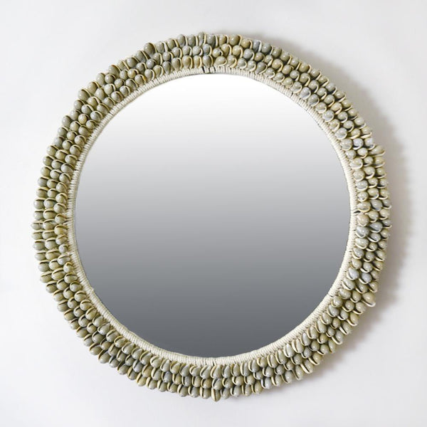 Grey Cowrie Shell Circular Mirror -Accessories- Cream Cornwall