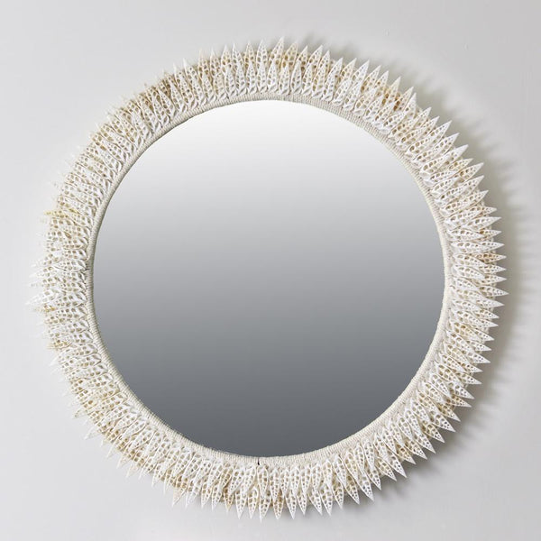 Leaf Shell Circular Mirror -Accessories- Cream Cornwall