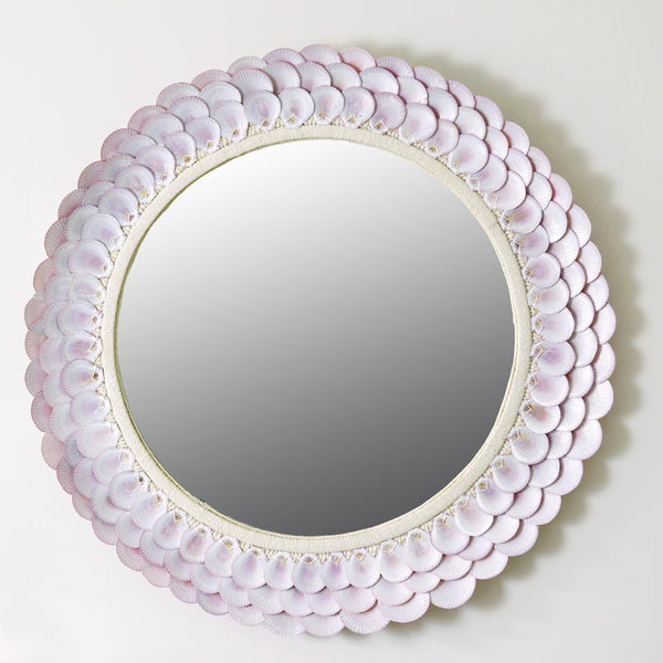 Pink Scallop Shell Circular Mirror -Accessories- Cream Cornwall