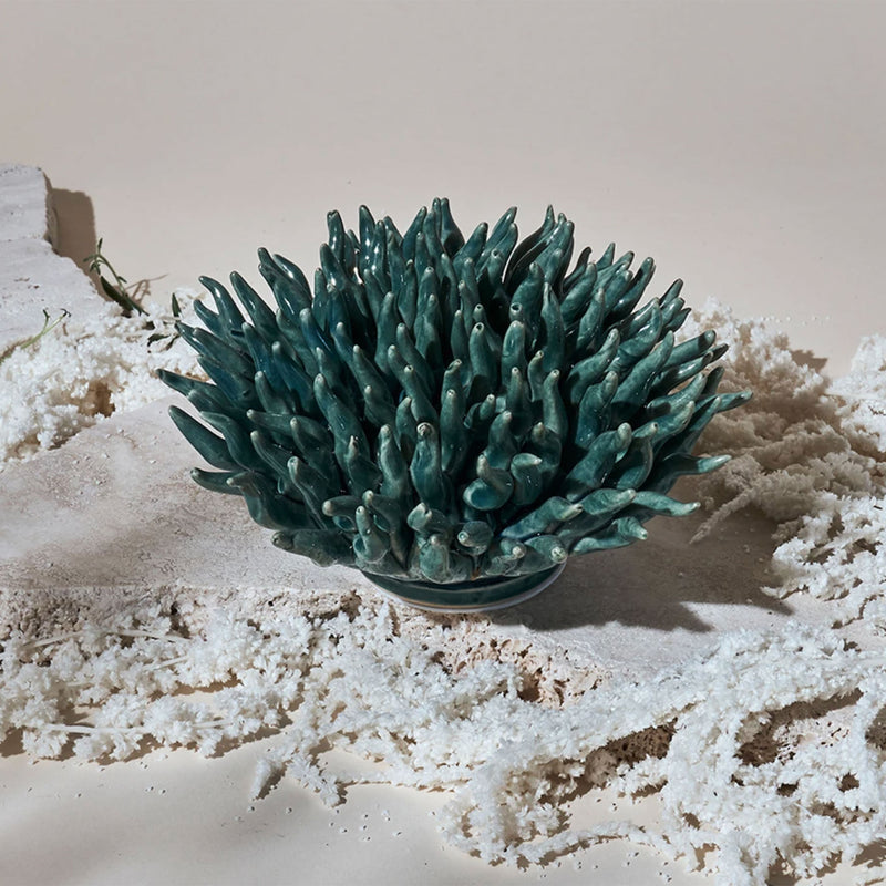 Teal Ceramic Finger Coral -Accessories- Cream Cornwall