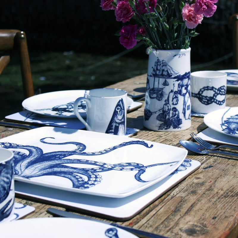 Blue And White Bone China Mug With Mackerel Heads Design -Kitchen & Dining- Cream Cornwall