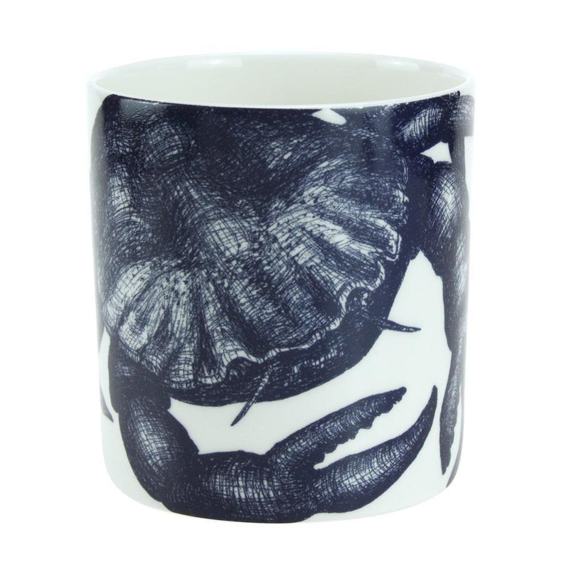 Blue And White Bone China Mug With Crab Design -Kitchen & Dining- Cream Cornwall