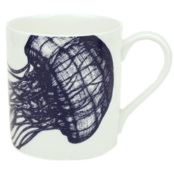 Blue And White Bone China Mug With Jellyfish Design -Kitchen & Dining- Cream Cornwall
