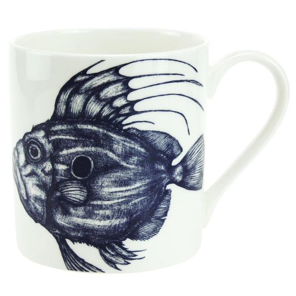 Blue And White Bone China Mug With John Dory Design -Kitchen & Dining- Cream Cornwall