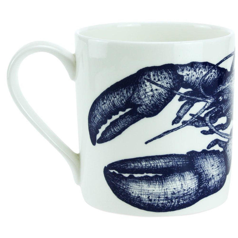 Blue And White Bone China Mug With Lobster Design -Kitchen & Dining- Cream Cornwall