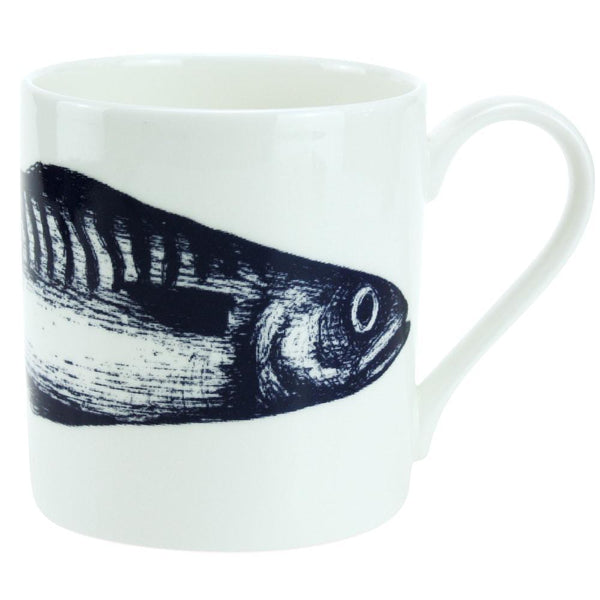 Blue And White Bone China Mug With Mackerel Design -Kitchen & Dining- Cream Cornwall