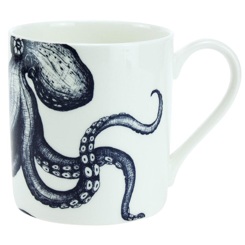 Blue And White Bone China Mug With Octopus Design -Kitchen & Dining- Cream Cornwall