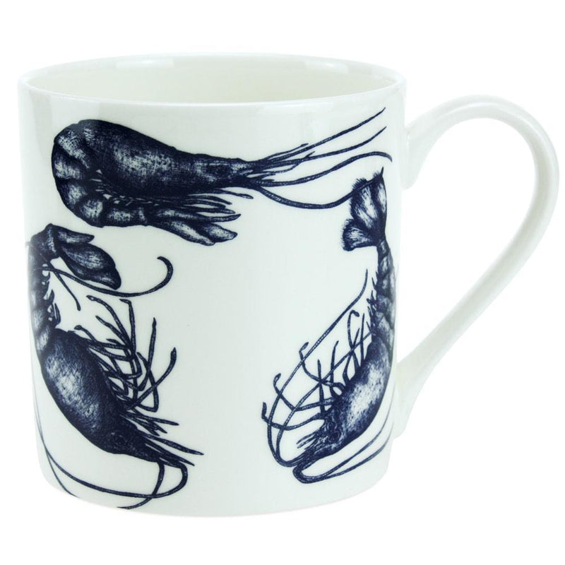 Blue And White Bone China Mug With Prawn Design -Kitchen & Dining- Cream Cornwall