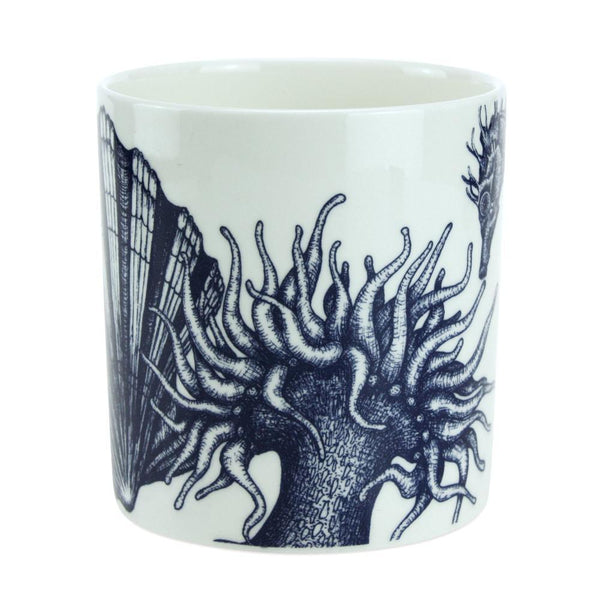 Blue And White Bone China Mug With Seahorse Design -Kitchen & Dining- Cream Cornwall