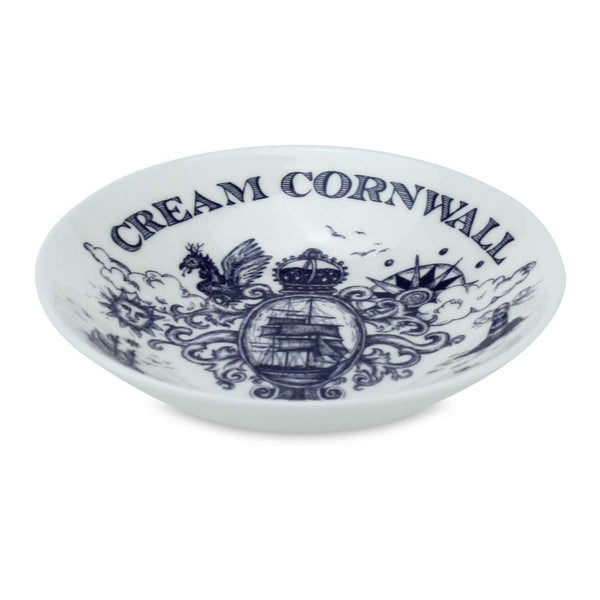 Blue And White Bone China Nibbles Dish With Falmouth Design -Kitchen & Dining- Cream Cornwall