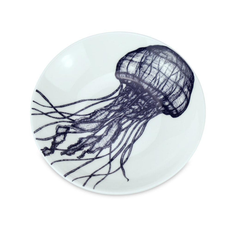 Blue And White Bone China Nibbles Dish With Jellyfish Design -Kitchen & Dining- Cream Cornwall