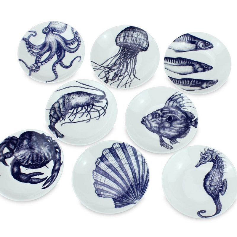 Blue And White Bone China Nibbles Dish With John Dory Design -Kitchen & Dining- Cream Cornwall