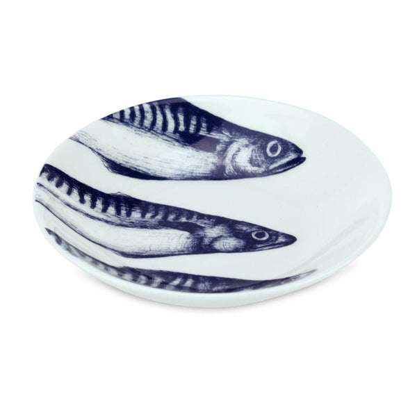 Blue And White Bone China Nibbles Dish With Mackerel Design -Kitchen & Dining- Cream Cornwall