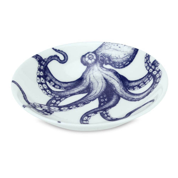 Blue And White Bone China Nibbles Dish With Octopus Design -Kitchen & Dining- Cream Cornwall