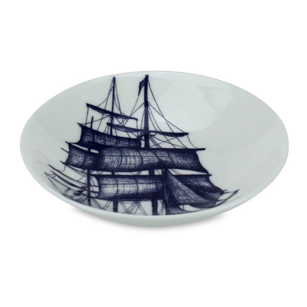 Blue And White Bone China Nibbles Dish With Packet Ship Design -Kitchen & Dining- Cream Cornwall