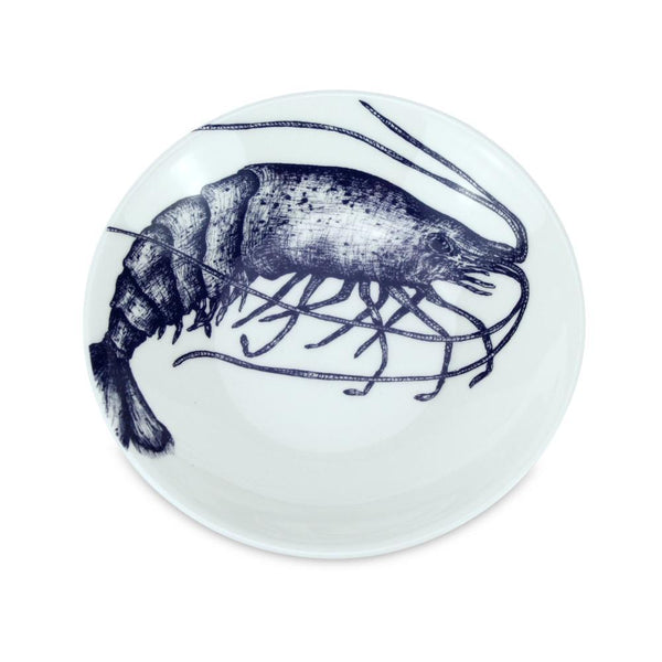 Blue And White Bone China Nibbles Dish With Prawn Design -Kitchen & Dining- Cream Cornwall