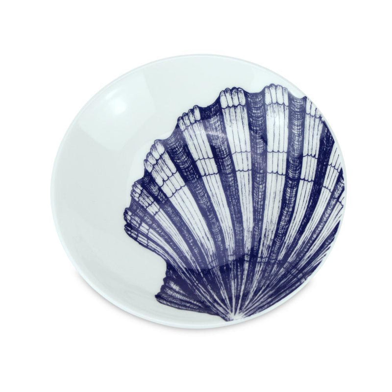 Blue And White Bone China Nibbles Dish With Scallop Shell Design -Kitchen & Dining- Cream Cornwall