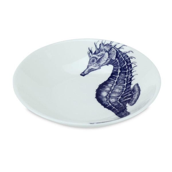 Blue And White Bone China Nibbles Dish With Seahorse Design -Kitchen & Dining- Cream Cornwall