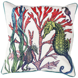 Ningaloo Reef Seahorse Velvet Cushion Cover On White Velvet -Homeware- Cream Cornwall