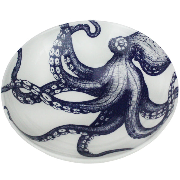 Blue And White Bone China Octopus Pasta Bowl -Kitchen & Dining- Cream Cornwall